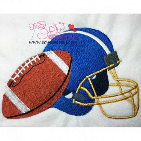 Football With Helmet Embroidery Design For Sports Event