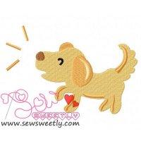 Barking Dog Embroidery Design