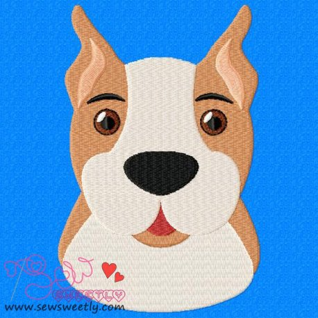 Boxer Face Embroidery Design Pattern- Category- Animals Designs- 1