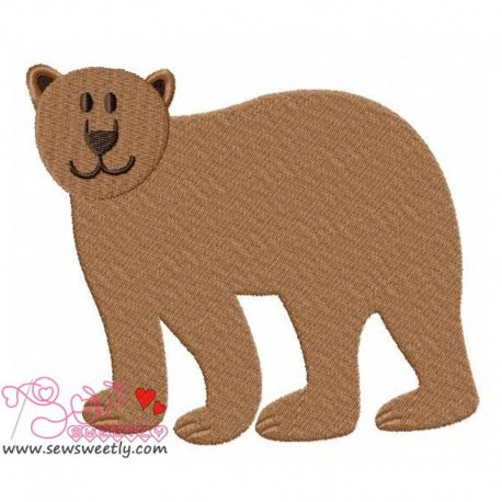 Cute Bear Machine Embroidery Design For Kids