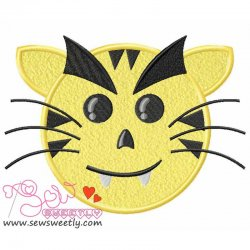 Evil Tiger Face Applique Design