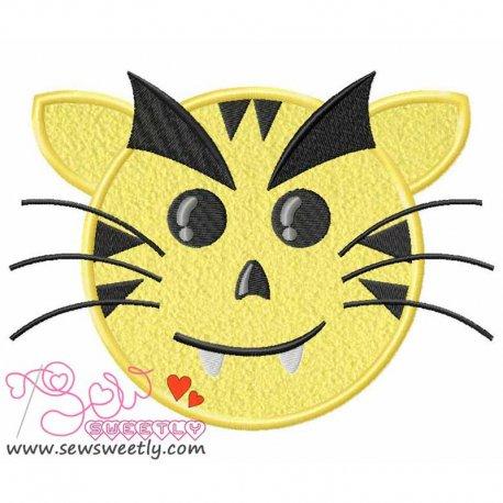 Evil Tiger Face Machine Applique Design For Kids