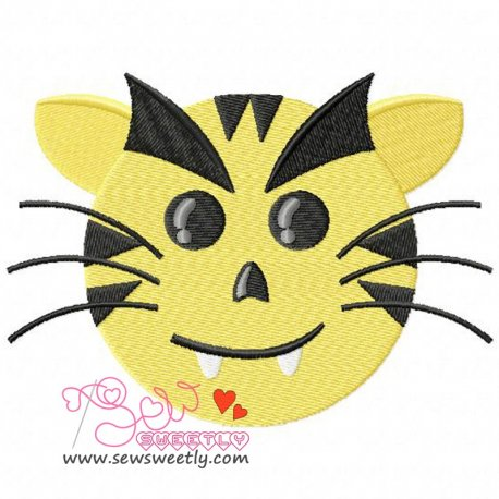 Evil Tiger Face Embroidery Design Pattern- Category- Animals Designs- 1