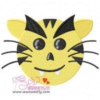 Evil Tiger Face Embroidery Design