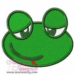 Cute Frog Face Embroidery Design