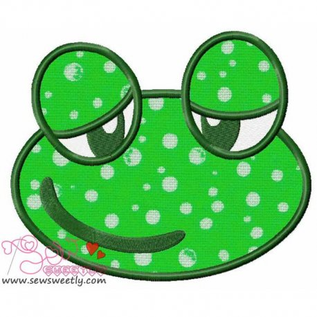 Cute Frog Face Machine Applique Design For Kids