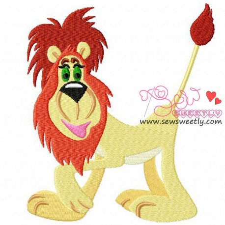 Funny Lion Machine Embroidery Design For Kids