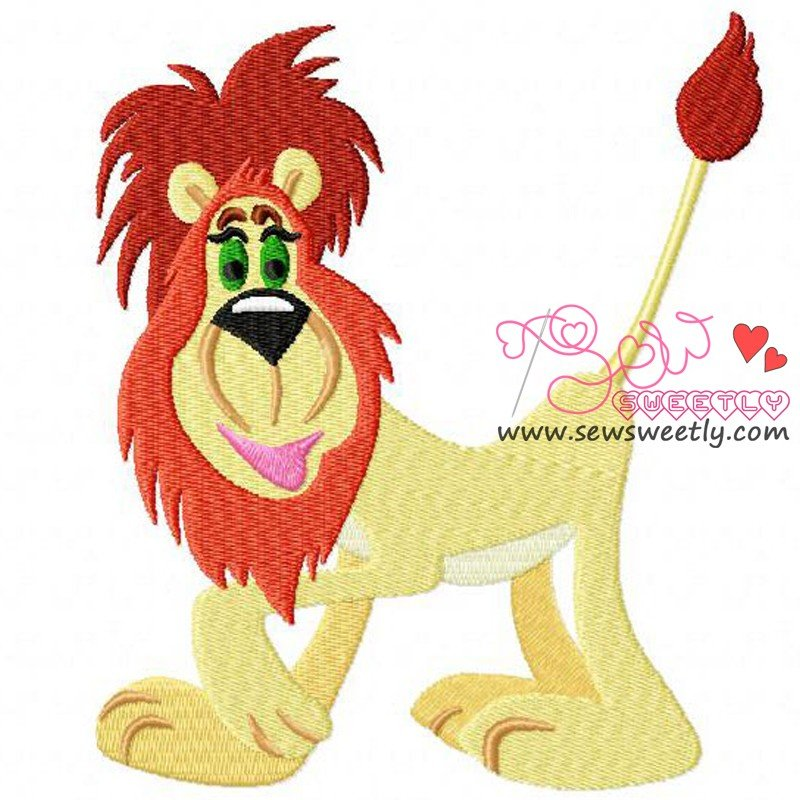 Funny lion embroidery design