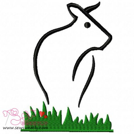 Cow Embroidery Design Pattern- Category- Animals Designs- 1