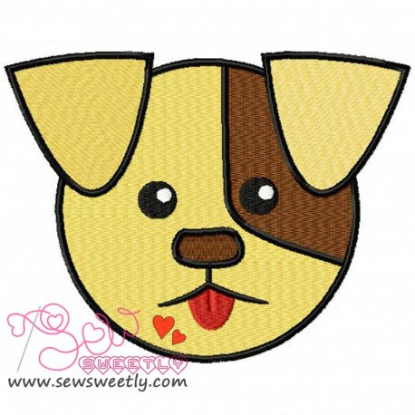 Cute Dog Face Machine Embroidery Design For Kids