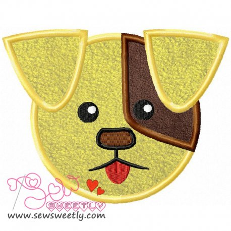 Cute Dog Face Machine Applique Design For Kids