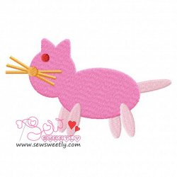 Pink Cat Embroidery Design