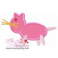 Pink Cat Applique Design