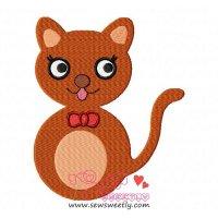 Orange Cat Embroidery Design