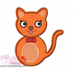 Orange Cat Applique Design