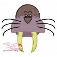 Walrus Face Embroidery Design