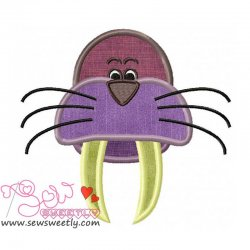 Walrus Face Applique Design