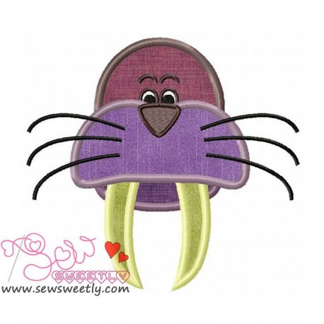 Walrus Face Machine Applique Design For Kids