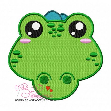 Crocodile Face Machine Embroidery Design For Kids
