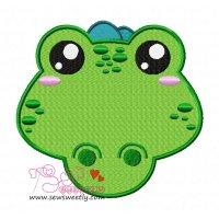 Crocodile Face Embroidery Design
