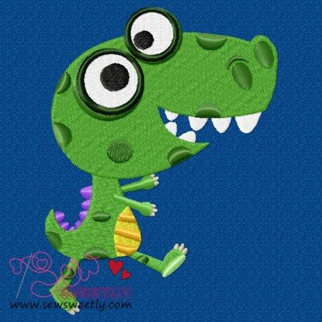 Happy Dino-2 Machine Embroidery Design For Kids