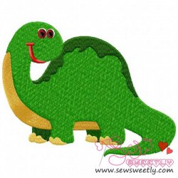 Happy Dino Embroidery Design