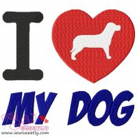I Love My Dog-2 Embroidery Design