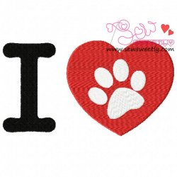 I Love My Dog-1 Embroidery Design