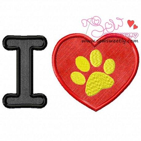 I Love My Dog-1 Machine Applique Design For Kids
