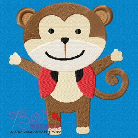 Circus Monkey Machine Embroidery Design For Kids