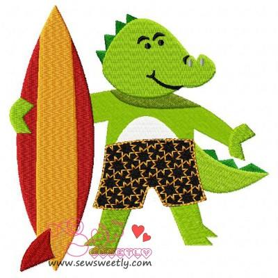 Surfer Dragon Embroidery Design