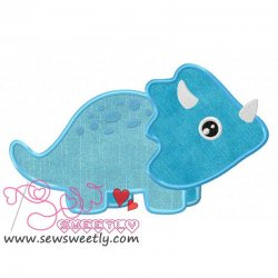 Blue Dinosaur Applique Design
