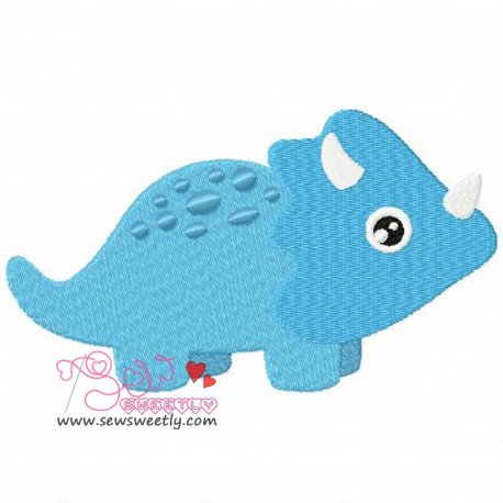 Blue Dinosaur Machine Embroidery Design For Kids