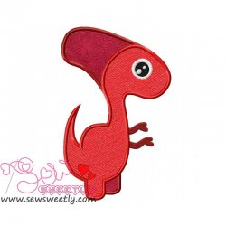 Red Dinosaur Applique Design