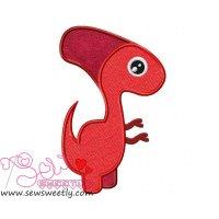 Red Dinosaur Applique Design