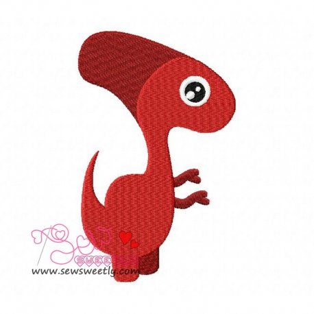 Red Dinosaur Machine Embroidery Design For Kids