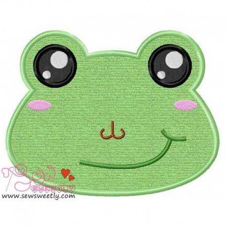 Frog Face Machine Applique Design For Kids
