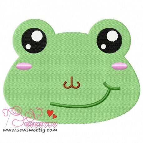 Frog Face Machine Embroidery Design For Kids