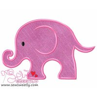 Cute Pink Elephant Applique Design