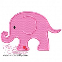 Cute Pink Elephant Embroidery Design
