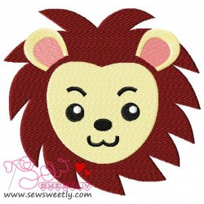 Cute Lion Face Embroidery Design