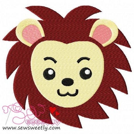 Cute Lion Face Machine Embroidery Design For Kids