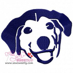 Dog Face Silhouette Embroidery Design