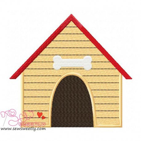 Dog House Machine Embroidery Design For Kids