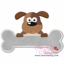 Dog Over A Bone Applique Design