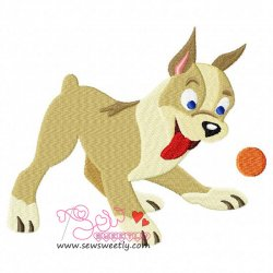 Playing Dog Embroidery Design