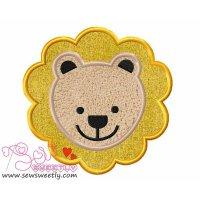 Lion Face Applique Design