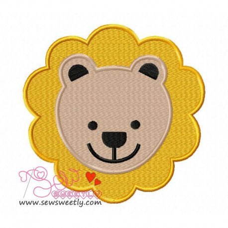 Lion Face Machine Embroidery Design For Kids