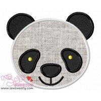 Panda Face Applique Design