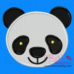 Panda Face Embroidery Design